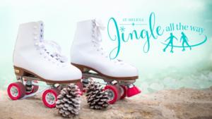 "Roller skates with pinecones and text ""Jingle"""